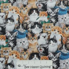 Cat Breeds Elizabeth Studio Cat Fabric 3809Multi  #catfabric #kittenfabric #cats