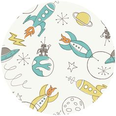 End of Bolt - - Outer Space Fabric - Birch Organic Cotton Fabric, Circa Space Cream, Rocket Fabric Kids Patterns, Print Patterns, Pattern Designs, Pattern Ideas, Fabric Patterns, Embroidery Patterns, Tissu Michael Miller, Space Fabric, Tent Fabric
