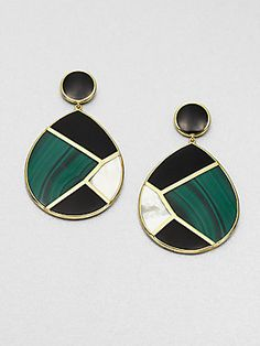 Ippolita Malachite, Black Onyx, Mother-of-Pearl and 18K Yellow Gold Drop Earrings