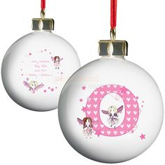 For a perfect keepsake for any child to add to the festive tree why not consider this charming Personalised Fairy Christmas Bauble.The child's initial will appear on the front and your own personal message on the reverse.This adorable bauble, with fairy letter design, is certain to light up any girls face and no doubt will be the first to be added to the Christmas tree, year after year.Each bauble comes with its own ribbon attached so it's ready to hang