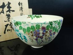 J5242: Japanese Kiyomizu-ware Flower pattern TEA BOWL Green tea tool w/signedbox | Antiques, Asian Antiques, Japan | eBay!