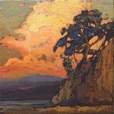 "Jan Schmuckal - Cliffhanger. Tonalist Oil on Canvas. Geneva, Illinois. Circa Early-21st Century. 8"" x 8""."