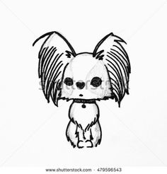 Cute cartoon dog, Hand drawing of Papillon dog or butterfly dog (Continental Toy Spaniel Papillon). Hand drawing isolated objects on white background. for coloring book. processed in black and white.