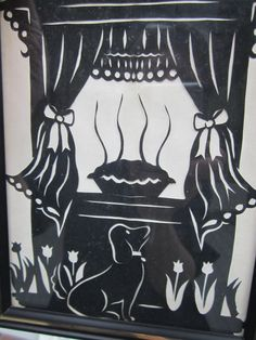 Signed Scherenschnitte Shadow Art - Temptation - Dog and the Pie on Window Ledge - Black on White Background - Janice Dyar Indiana Artist  This