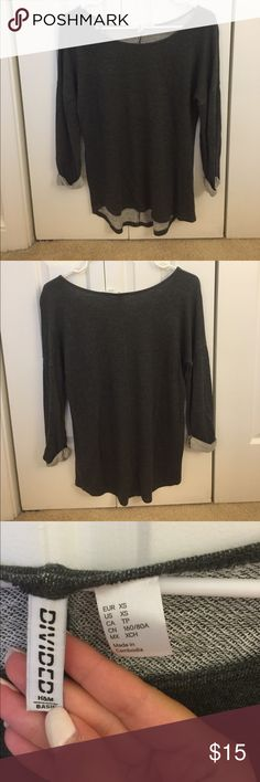 H&M Grey Top H&M grey 3/4 top. Like new condition and from a smoke free home. Slightly high low and super comfy. Please feel free to comment with any questions or to make an offer! H&M Tops Tees - Long Sleeve