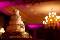 purple wedding mood lighting on cream and gold cake washington DC maryland virginia wedding photographer.  Judah avenue Washington DC, Maryland, Virginia wedding photography/ photographer