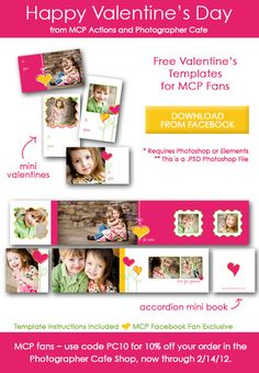 Free Mini Card Templates and Accordion Book Designs to Celebrate Valentine's Day