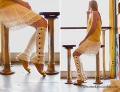 The Miss Molly- Creme de Creme Soft Slouchy Button Down LEGWARMERS w/ Ivory Knit Lace - Leg Warmers (item no. 7-8). 29.50, via Etsy.
