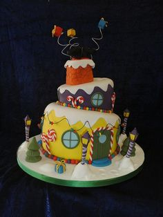 A whimsical Christmas cake. A little Dr. Seuss, different color palette.