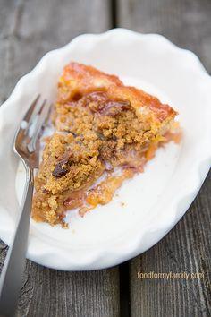 Peach Bourbon Pie with Bacon Brown Sugar Crumble #Recipe   FoodforMyFamily.com