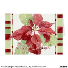 Modern Striped Poinsettia Christmas Floral Holiday