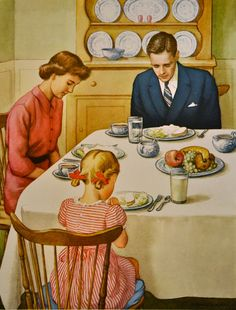 Vintage Illustrations 1957 x Lithograph Poster including border) © Providence Lithograph Co. A Blessing Beginner Teaching Pictures Part 8 Artist: - Photo Vintage, Vintage Ads, Vintage Pictures, Vintage Images, Family Illustration, Illustration Art, Illustrations Vintage, Vintage Housewife, Norman Rockwell
