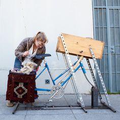 bicycle powered carding machine