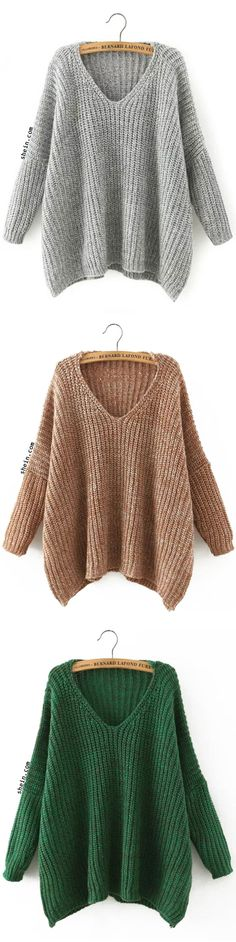 V Neckline Dropped Shoulder Sweater