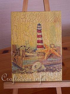 Maritime Crafts - Decoupage - (Paper Napkin Applique) - Faux Maritime Paintings