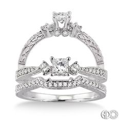 14K White Gold Vintage Wedding Set.    http://www.thediamondstore.com/products/engagement-rings/14k-white-gold-vintage-wedding-set-%7C-ash25603/6-710