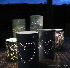 Tin Can Lanterns Tutorial - Recycled Craft - #tincan #repurpose