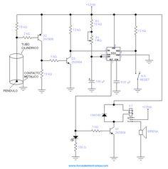 Alarma Sísmica - al sacudirse un pendulo y tocar un contacto metálico cierra el circuito a tierra y activa el 555.