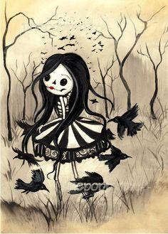Raven Carousel Print Art Carnival Ravens - My Sugar Skulls Dark Fantasy Art, Dark Gothic Art, Creepy Drawings, Creepy Art, Art Drawings, Art Emo, Goth Art, Arte Horror, Horror Art