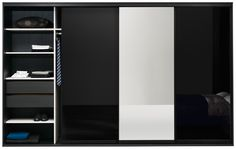 """NEW Wardrobe with sliding doors, excl. interior, black glass/mirror. H71/107¼xW134½/141¾xD27"""". [Wardrobe concept - CB00]  Other options available."""