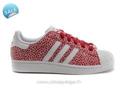 Officiel Adidas SUPERSTAR II Blanc / Rouge Graffiti Adidas Superstar Soldes New Adidas
