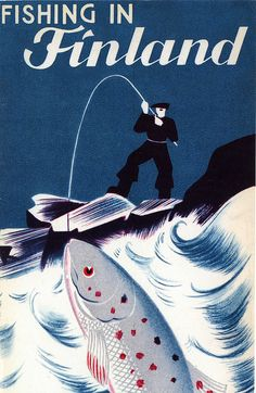 Vintage Travel Poster - Fishing in Finland #tourism #poster