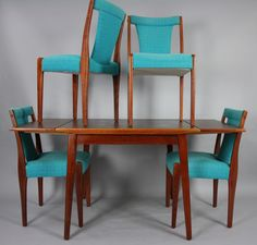 Mid Century Dining Setting Table 4 X Chairs Teak Retro Vintage | 360 Modern Furniture