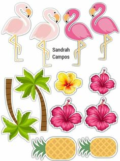 Best 12 'Pink Flamingo' Sticker by Jodie Andrews – SkillOfKing. Flamingo Party, Flamingo Birthday, Aloha Party, Luau Party, Hawaiian Party Decorations, Birthday Decorations, Party Printables, Party Time, Birthday Parties