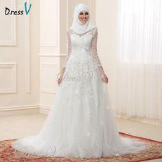 2017 Muslim Wedding Dresses Lace Long Sleeves High Neck Arabic Bridal Gowns Applique Elegant Islamic Bride Dress For Dubai  #weddingdresses #mermaidweddinggowns #mermaidbridalgowns #beachweddingdresses #vintageweddingdresses #bridalgowns