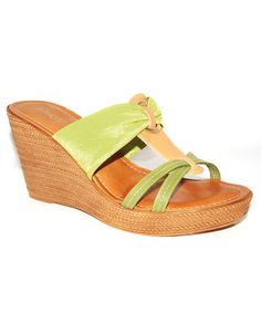 Take a look at this Lime & Tan Wedge Sandal by Toscanella on #zulily today!