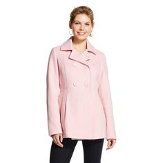 Women's Faux Wool Pea Coat - Xhilaration™ - Iced Rose Pink