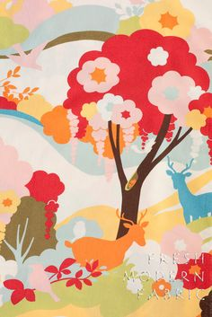 One Yard Oh Deer Enchanted Forest in by FreshModernFabric on Etsy