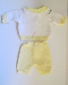 Coleco Vintage Cabbage Patch Doll Clothes Bean Bottom Baby Yellow Sweater Set #ClothingAccessories