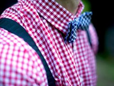 Gingham check shirt and tie.