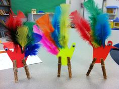 Turkey craft. Feathers, poster board and clothes pin make a fun and easy craft for kids