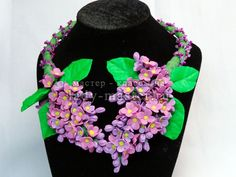 Lilac necklace made of polymer clay. - tutorial in Russian