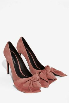 Jeffrey Campbell Grandame Suede Bow Pump - Dusty Rose - Party Shop | Pumps | Party Heels