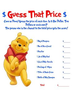 Winnie The Pooh Baby Shower Games 2 Pack by AllThingsParty on Etsy, $5.00