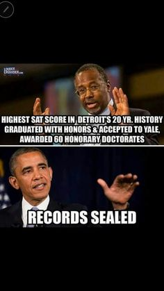 Why are his records sealed? What does he not want the public to know? The American people have a right to see his records. We have paid a high price for the damage he has done to this great country. Liberal Hypocrisy, Liberal Logic, Politicians, Political Quotes, Political Views, Truth Hurts, It Hurts, Ben Carson, Conservative Politics