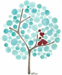 Circle stamps can be made from erasers, foam, potatoes, etc. Paint tree trunk and branches. family tree or guest book idea.