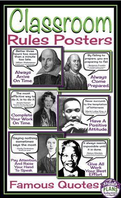 Class rules posters: famous quotes schulkram – Get your students' attention with these unique back-to-school classroom rules posters. Each of the 6 posters include a quote from a famous person which relates to a classroom rule. Class Rules Poster, Classroom Rules Poster, Social Studies Classroom, Middle School Classroom, Science Classroom, Science Room, Science Art, Teaching Social Studies, Science Education