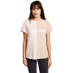 Cynthia Rowley CaliYork Tee Shirt ($80) ❤ liked on Polyvore featuring tops, t-shirts, pink top, crew neck t shirt, pink jersey, jersey top and crewneck tee