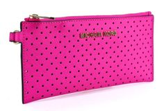 Michael Kors Jet Set Travel Perforated Neon Pink Leather Small Zip Clutch