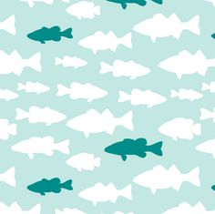 fish // teal  fabric by littlearrowdesign on Spoonflower - custom fabric