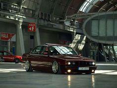 BMW E34 burgundy stance