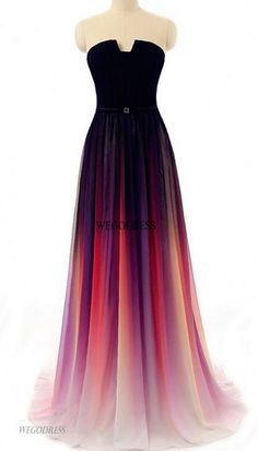 A-line Straight Across Floor-Length Chiffon Ombre Prom Dresses, Long Evening Gowns, Party Dresses Ombre Prom Dresses, Grad Dresses, Homecoming Dresses, Dress Outfits, Dress Prom, Prom Gowns, Dress Long, Chiffon Dress, Strapless Dress Formal