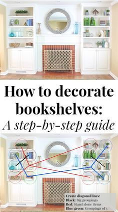 Wow, these bookshelves are GORGEOUS! This post walks through how to decorate bookshelves from start to finish and has plenty of bookshelf decorating ideas if you're stuck! Love how she calls out diff Arranging Bookshelves, Styling Bookshelves, Bookshelves In Living Room, Decorating Bookshelves, Bookshelf Design, Bookshelves Built In, My Living Room, Built Ins, How To Decorate Bookshelves