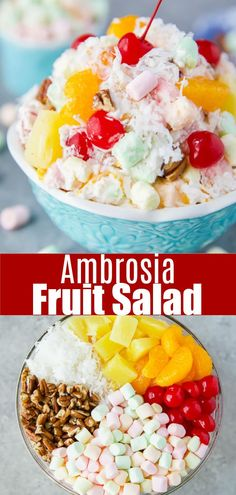 The best ambrosia marshmallow fruit salad. This classic recipe is made with frui… The best ambrosia marshmallow fruit salad. This classic recipe is made with fruit, marshmallows, pecans, coconut, homemade whipped cream and greek yogurt. Best Fruit Salad, Fruit Salad Recipes, Fruit Snacks, Fruit Fruit, Recipes With Fruit, Homemade Fruit Salad, Fruit Salad With Yogurt, Fruit Slime, Apple Fruit