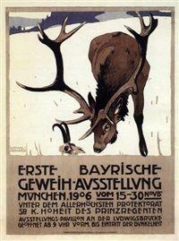Erste Bayrische Geweihaustellung von Ludwig Hohlwein