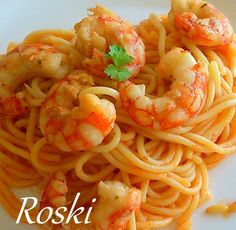 roski-cocina y algo mas-yus: Espaguetis con Langostinos al Coñac